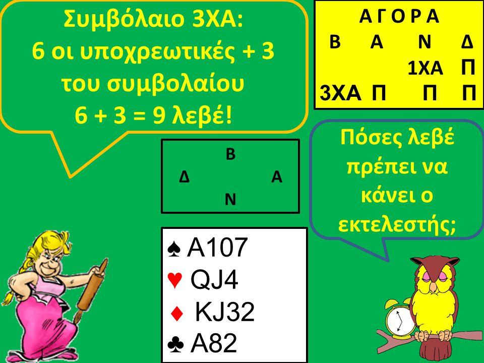Β Δ Α Ν Πόσες λεβέ πρέπει να κάνει ο εκτελεστής; Συμβόλαιο 3ΧΑ: 6 οι υποχρεωτικές + 3 του συμβολαίου 6 + 3 = 9 λεβέ! ♠ A107 ♥ QJ4  KJ32 ♣ A82 Α Γ Ο Ρ