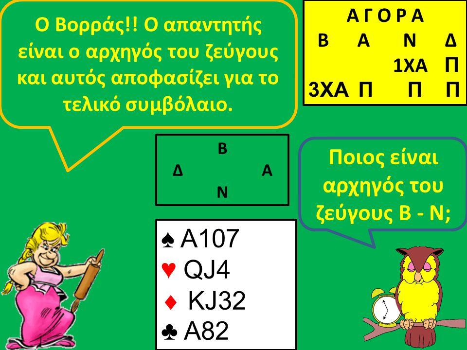Β Δ Α Ν Ποιος είναι αρχηγός του ζεύγους Β - Ν; Ο Βορράς!! Ο απαντητής είναι ο αρχηγός του ζεύγους και αυτός αποφασίζει για το τελικό συμβόλαιο. ♠ A107