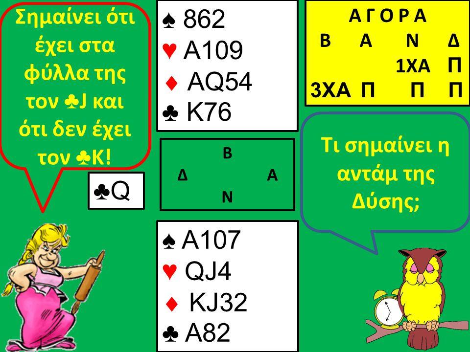 Β Δ Α Ν Τι σημαίνει η αντάμ της Δύσης; ♠ A107 ♥ QJ4  KJ32 ♣ A82 Α Γ Ο Ρ Α B Α Ν Δ 1XA Π 3XA Π Π Π ♣Q Σημαίνει ότι έχει στα φύλλα της τον ♣ J και ότι δεν έχει τον ♣ Κ.