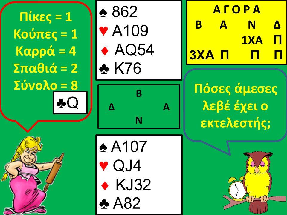 Β Δ Α Ν Πόσες άμεσες λεβέ έχει ο εκτελεστής; ♠ A107 ♥ QJ4  KJ32 ♣ A82 Α Γ Ο Ρ Α B Α Ν Δ 1XA Π 3XA Π Π Π ♣Q Πίκες = 1 Κούπες = 1 Καρρά = 4 Σπαθιά = 2 Σύνολο = 8 ♠ 862 ♥ A109  AQ54 ♣ K76