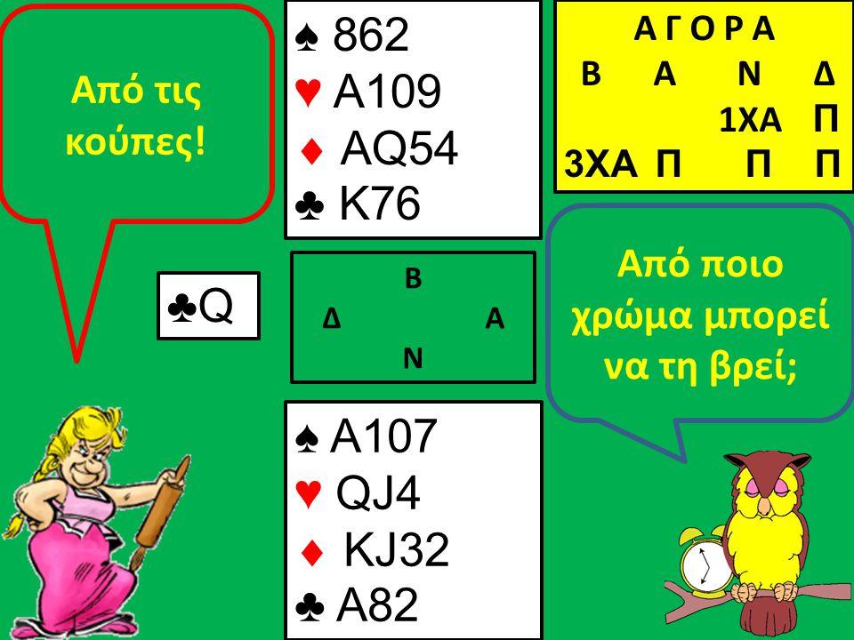 Β Δ Α Ν Από ποιο χρώμα μπορεί να τη βρεί; ♠ A107 ♥ QJ4  KJ32 ♣ A82 Α Γ Ο Ρ Α B Α Ν Δ 1XA Π 3XA Π Π Π ♣Q Από τις κούπες! ♠ 862 ♥ A109  AQ54 ♣ K76