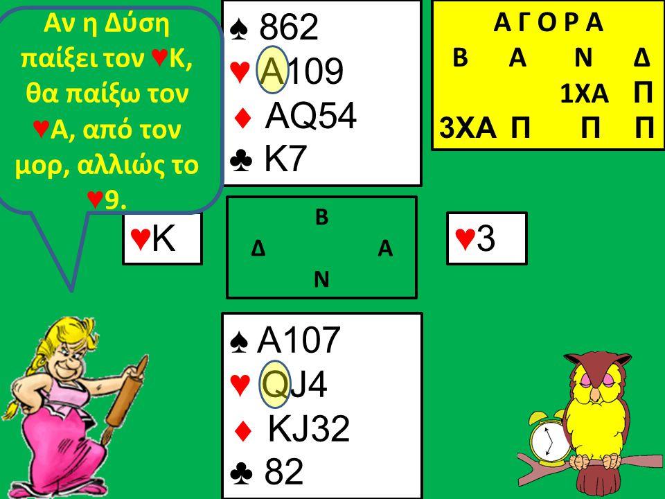 Β Δ Α Ν ♠ A107 ♥ QJ4  KJ32 ♣ 82 Α Γ Ο Ρ Α B Α Ν Δ 1XA Π 3XA Π Π Π ♥Κ♥Κ ♠ 862 ♥ A109  AQ54 ♣ K7 ♥3♥3 Αν η Δύση παίξει τον ♥ Κ, θα παίξω τον ♥ Α, από τον μορ, αλλιώς το ♥ 9.