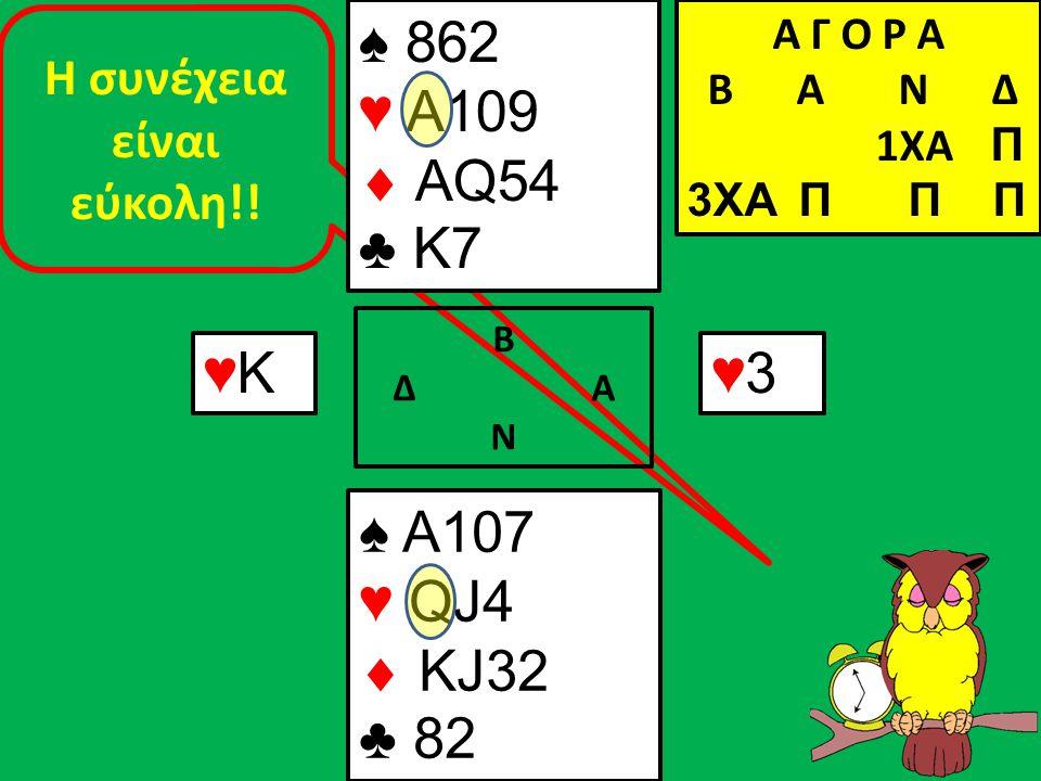 Η συνέχεια είναι εύκολη!! Β Δ Α Ν ♠ A107 ♥ QJ4  KJ32 ♣ 82 Α Γ Ο Ρ Α B Α Ν Δ 1XA Π 3XA Π Π Π ♥Κ♥Κ ♠ 862 ♥ A109  AQ54 ♣ K7 ♥3♥3