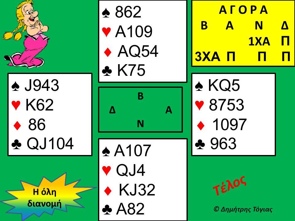 Β Δ Α Ν ♠ J943 ♥ K62  86 ♣ QJ104 Η όλη διανομή © Δημήτρης Τόγιας Τέλος ♠ KQ5 ♥ 8753  1097 ♣ 963 Α Γ Ο Ρ Α B Α Ν Δ 1XA Π 3XA Π Π Π ♠ A107 ♥ QJ4  KJ3