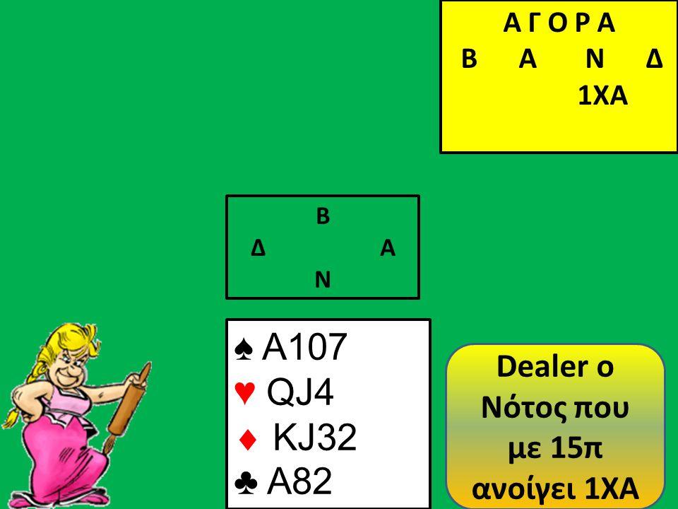 Β Δ Α Ν ♠ A107 ♥ QJ4  KJ32 ♣ A82 Α Γ Ο Ρ Α B Α Ν Δ 1ΧΑ Dealer o Νότος που με 15π ανοίγει 1XA