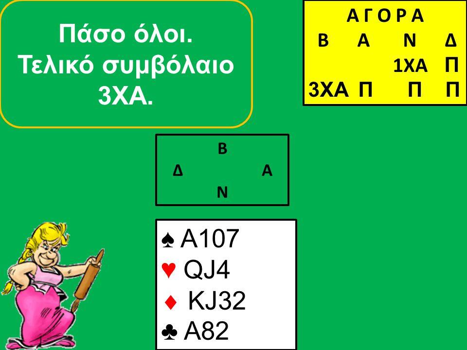 Β Δ Α Ν Πάσο όλοι. Τελικό συμβόλαιο 3ΧΑ. ♠ A107 ♥ QJ4  KJ32 ♣ A82 Α Γ Ο Ρ Α B Α Ν Δ 1XA Π 3XA Α Γ Ο Ρ Α B Α Ν Δ 1XA Π 3XA Π Π Π
