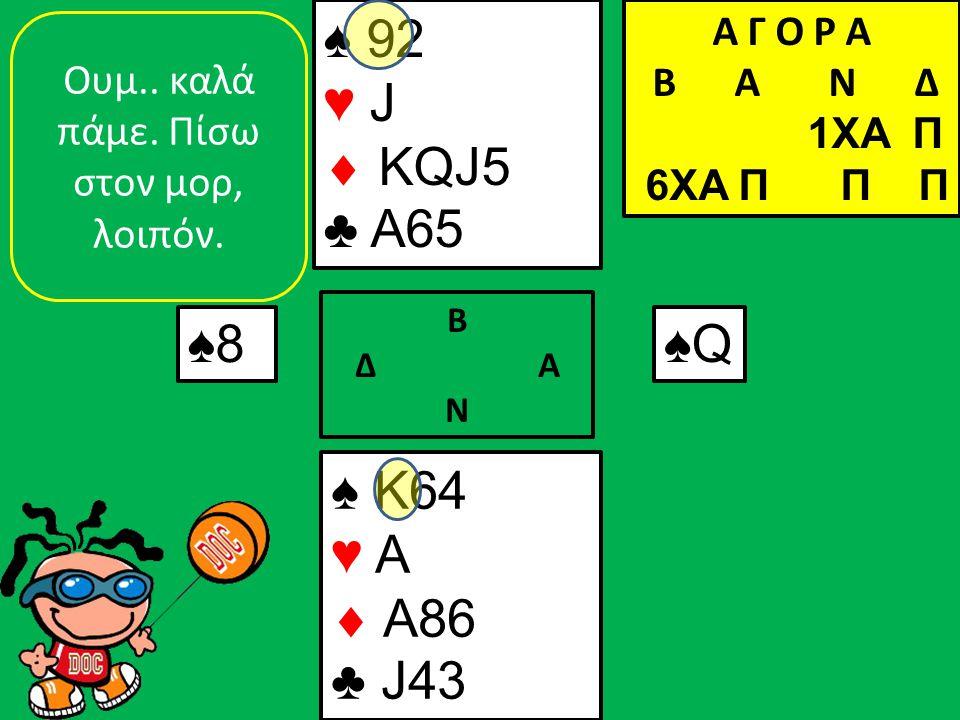 ♠ K64 ♥ A  A86 ♣ J43 ♠ 92 ♥ J  KQJ5 ♣ A65 ♠8 Β Δ Α Ν ♠Q♠Q Oυμ.. καλά πάμε. Πίσω στον μορ, λοιπόν. Α Γ Ο Ρ Α B Α Ν Δ 1XA Π 6XA Π Π Π