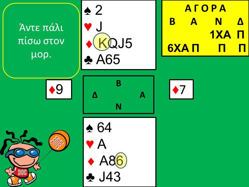 ♠ 64 ♥ A  A86 ♣ J43 ♠ 2 ♥ J  KQJ5 ♣ A65 ♦9♦9 Β Δ Α Ν ♦7♦7 Άντε πάλι πίσω στον μορ. Α Γ Ο Ρ Α B Α Ν Δ 1XA Π 6XA Π Π Π