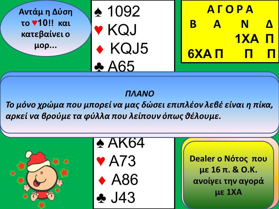 ♠ 1092 ♥ KQJ  KQJ5 ♣ A65 Β Δ Α Ν Αντάμ η Δύση το ♥ 10 !! και κατεβαίνει ο μορ... ♠ AK64 ♥ A73  A86 ♣ J43 Α Γ Ο Ρ Α B Α Ν Δ 1XA Π Πριν παίξω φύλλο απ