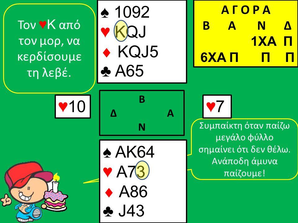 Συμπαίκτη όταν παίζω μεγάλο φύλλο σημαίνει ότι δεν θέλω. Ανάποδη άμυνα παίζουμε! ♠ AK64 ♥ A73  A86 ♣ J43 ♠ 1092 ♥ KQJ  KQJ5 ♣ A65 ♥10 Β Δ Α Ν ♥7♥7 Τ