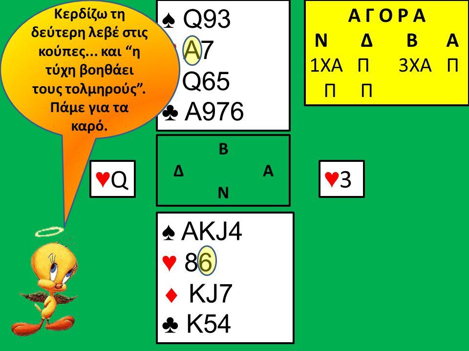 ♠ Q93 ♥ A7  Q65 ♣ A976 Α Γ Ο Ρ Α N Δ Β Α 1ΧΑ Π ♠ ΑΚJ4 ♥ 86  KJ7 ♣ K54 Β Δ Α Ν ♥Q♥Q Α Γ Ο Ρ Α N Δ Β Α 1ΧΑ Π 3ΧΑ Π Π Π ♥3♥3 Κερδίζω τη δεύτερη λεβέ στις κούπες...