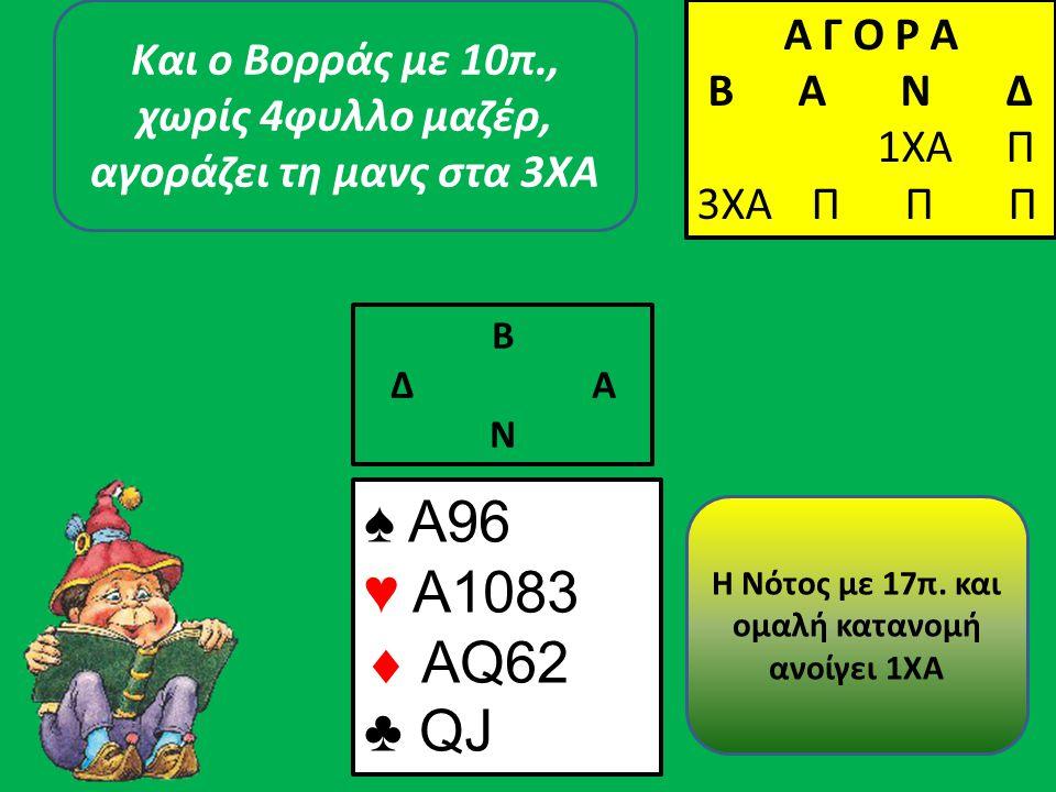 ♠ A96 ♥ A1083  AQ62 ♣ QJ Β Δ Α Ν Η Νότος με 17π.