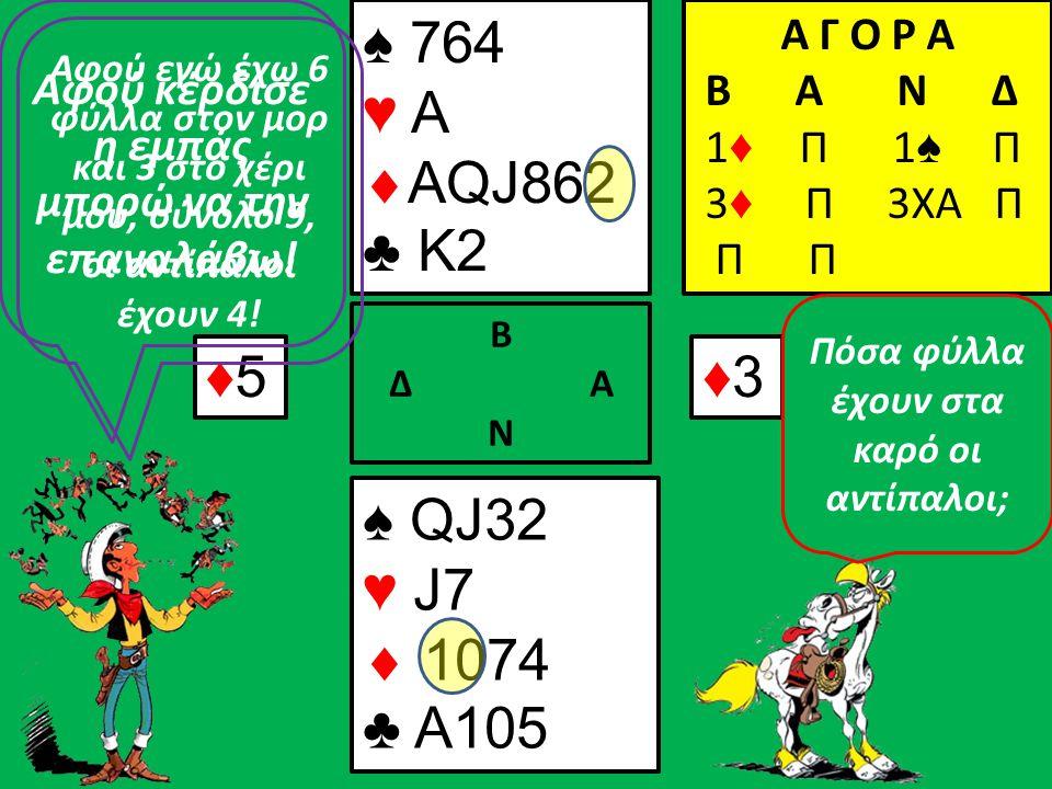 Β Δ Α Ν ♠ 764 ♥  ♣ K2 Α Γ Ο Ρ Α B A N Δ 1 ♦ Π 1 ♠ Π 3 ♦ Π 3ΧΑ Π Π ♠ QJ ♥ J  ♣ A10 Να μη σας παιδεύω άλλο παιδιά.