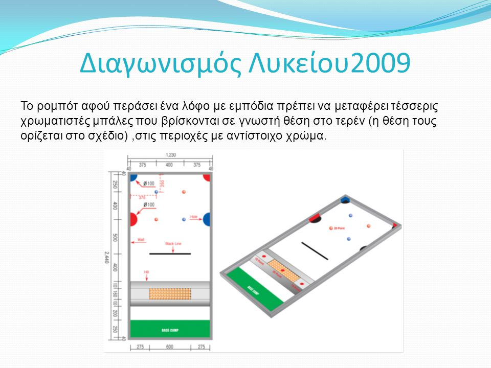 Διαγωνισμός Λυκείου2009 Το ρομπότ αφού περάσει ένα λόφο με εμπόδια πρέπει να μεταφέρει τέσσερις χρωματιστές μπάλες που βρίσκονται σε γνωστή θέση στο τερέν (η θέση τους ορίζεται στο σχέδιο),στις περιοχές με αντίστοιχο χρώμα.
