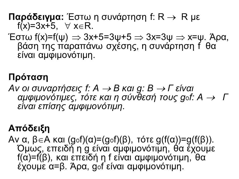 Παράδειγμα: Έστω η συνάρτηση f: R  R με f(x)=3x+5,  x  R. Έστω f(x)=f(ψ)  3x+5=3ψ+5  3x=3ψ  x=ψ. Άρα, βάση της παραπάνω σχέσης, η συνάρτηση f θα