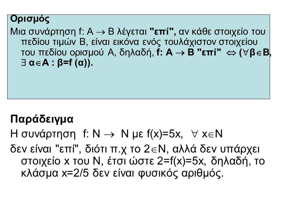 Ορισμός Μια συνάρτηση f: Α  Β λέγεται