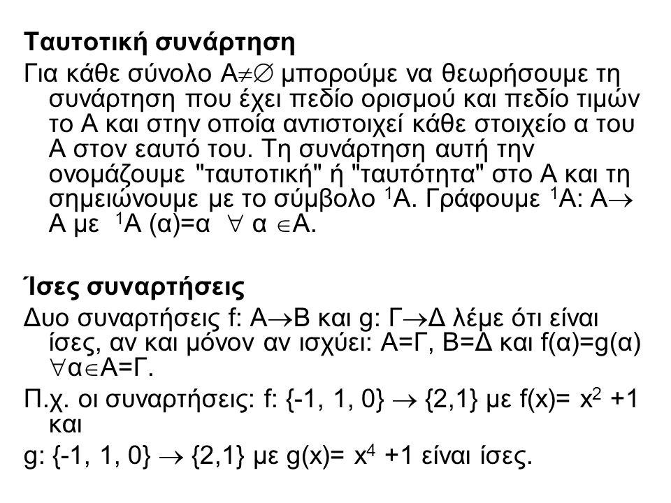 Ταυτοτική συνάρτηση Για κάθε σύνολο Α  μπορούμε να θεωρήσουμε τη συνάρτηση που έχει πεδίο ορισμού και πεδίο τιμών το Α και στην οποία αντιστοιχεί κά