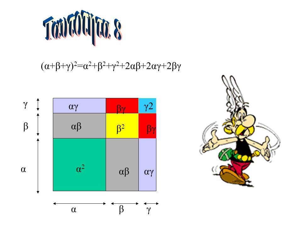 (α+β+γ) 2 =α 2 +β 2 +γ 2 +2αβ+2αγ+2βγ