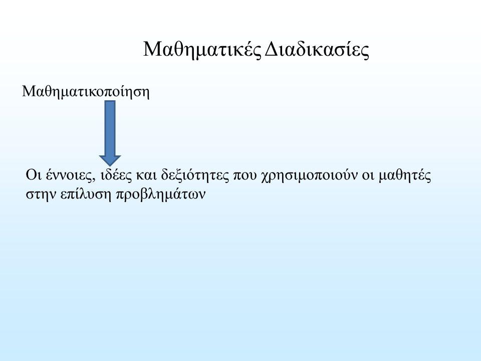 Μαθηματικές Διαδικασίες Οι έννοιες, ιδέες και δεξιότητες που χρησιμοποιούν οι μαθητές στην επίλυση προβλημάτων Μαθηματικοποίηση