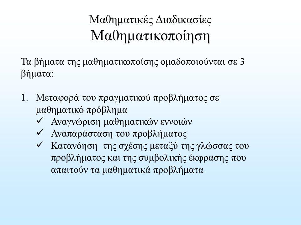 Μαθηματικές Διαδικασίες Μαθηματικοποίηση Τα βήματα της μαθηματικοποίσης ομαδοποιούνται σε 3 βήματα: 1.Μεταφορά του πραγματικού προβλήματος σε μαθηματι
