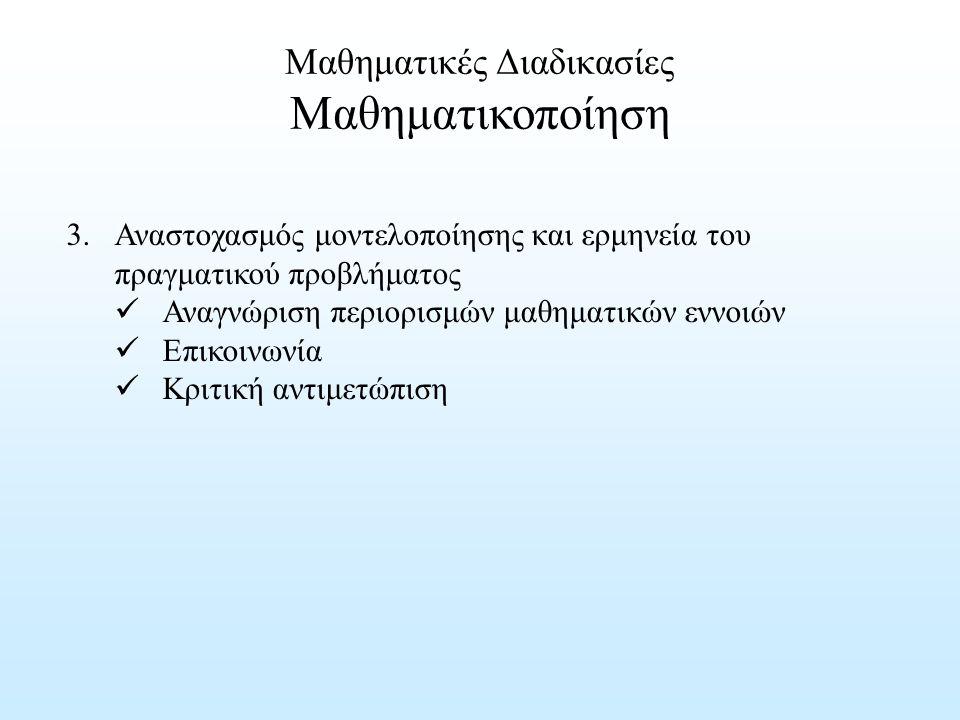 Μαθηματικές Διαδικασίες Μαθηματικοποίηση 3. Αναστοχασμός μοντελοποίησης και ερμηνεία του πραγματικού προβλήματος Αναγνώριση περιορισμών μαθηματικών εν