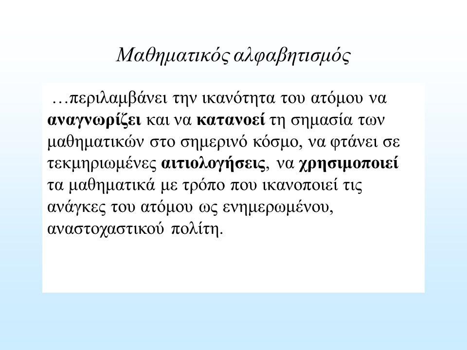 Μαθηματικός αλφαβητισμός Απλές αναπαραστάσεις Υπολογισμοί ρουτίνας Διαδικασίες ρουτίνας Προβλήματα ρουτίνας Σύνδεση πραγματικών προβλημάτων με μαθηματικές δομές Λύση προβλήματος Ερμηνεία Πολλαπλές μέθοδοι Λύση σύνθετων προβλημάτων Αναστοχασμός επινόηση Πρωτότυπες λύσεις Γενίκευση ΑΝΑΠΑΡΑΓΩΓΗΔΙΑΣΥΝΔΕΣΗ ΑΝΑΣΤΟΧΑΣΜΟΣ