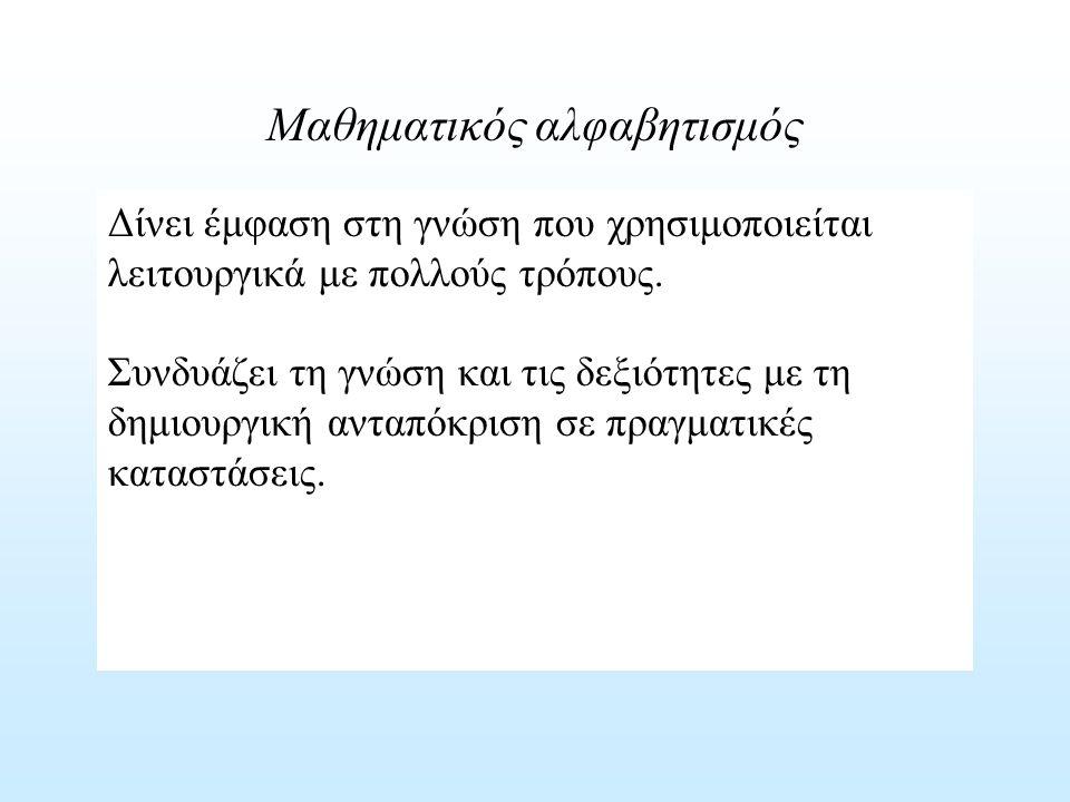 ΑναπαραγωγήΔιασύνδεσηΑναστοχασμός Αναπαραστάσεις Αποκωδικοποίηση, κωδικοποίηση και ερμηνεία γνωστών αναπαραστάσεων Επιλογή και μετακίνηση μεταξύ αναπαραστάσεων μαθηματικών αντικειμένων και καταστάσεων.
