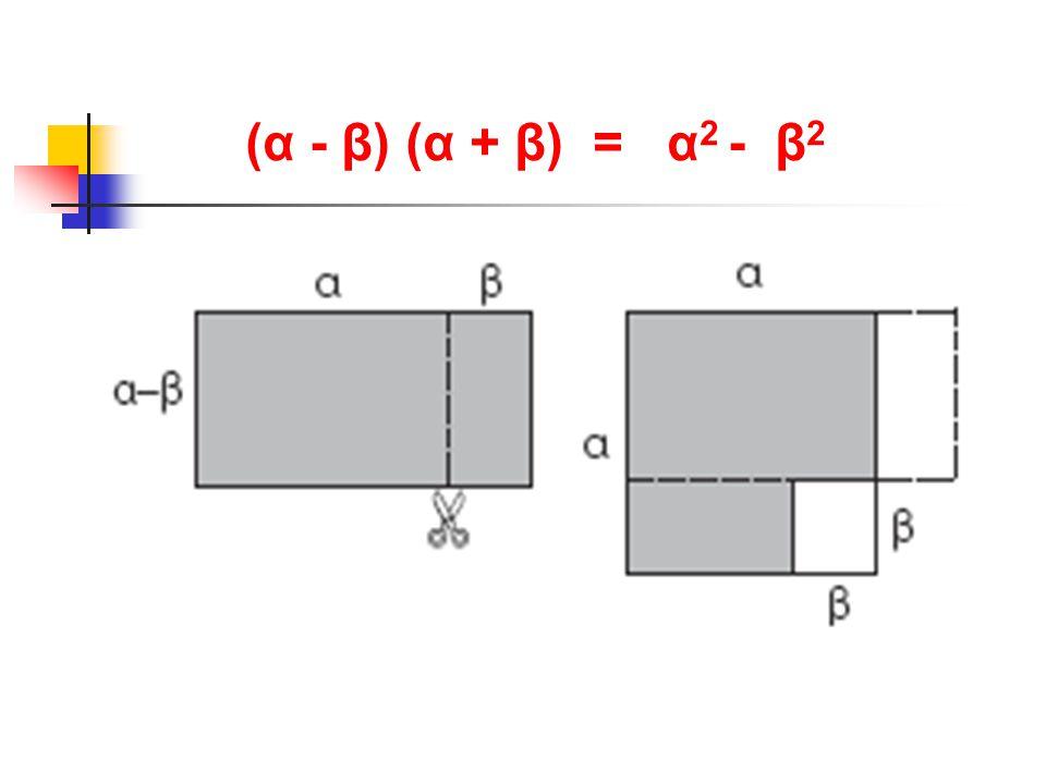 (α - β) (α + β) = α 2 - β 2