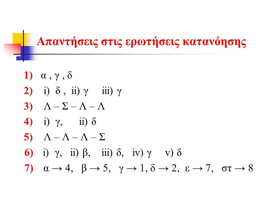Απαντήσεις στις ερωτήσεις κατανόησης 1) α, γ, δ 2) i) δ, ii) γ iii) γ 3) Λ – Σ – Λ – Λ 4) i) γ, ii) δ 5) Λ – Λ – Λ – Σ 6) i) γ, ii) β, iii) δ, iv) γ v) δ 7) α → 4, β → 5, γ → 1, δ → 2, ε → 7, στ → 8