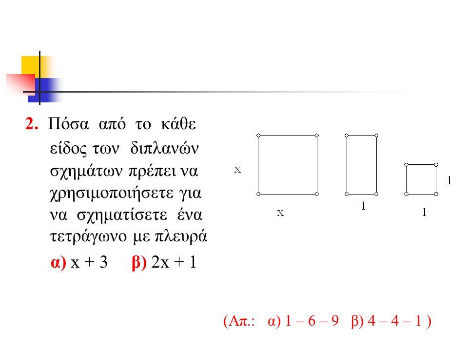2. Πόσα από το κάθε είδος των διπλανών σχημάτων πρέπει να χρησιμοποιήσετε για να σχηματίσετε ένα τετράγωνο με πλευρά α) x + 3 β) 2x + 1 (Aπ.: α) 1 – 6