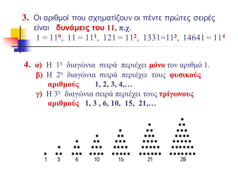 3.Οι αριθμοί που σχηματίζουν οι πέντε πρώτες σειρές είναι δυνάμεις του 11, π.χ.