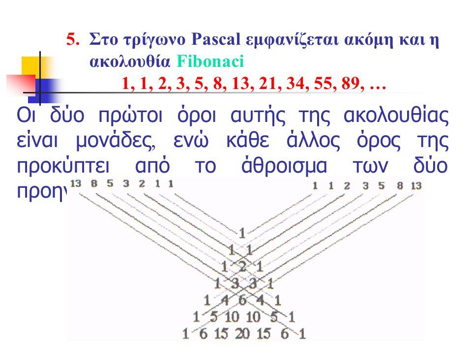 5. Στο τρίγωνο Pascal εμφανίζεται ακόμη και η ακολουθία Fibonaci 1, 1, 2, 3, 5, 8, 13, 21, 34, 55, 89, … Οι δύο πρώτοι όροι αυτής της ακολουθίας είναι