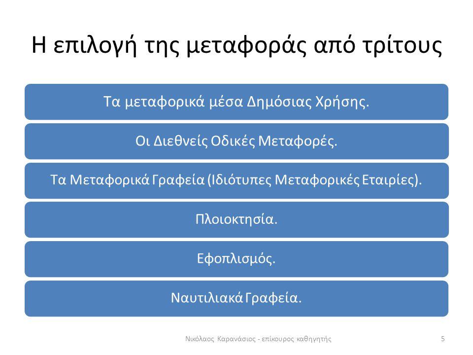 Η επιλογή της μεταφοράς από τρίτους Τα μεταφορικά μέσα Δημόσιας Χρήσης. Οι Διεθνείς Οδικές Μεταφορές. Τα Μεταφορικά Γραφεία (Ιδιότυπες Μεταφορικές Ετα