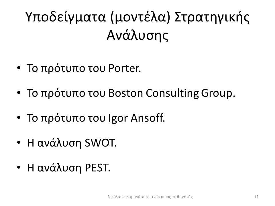 Υποδείγματα (μοντέλα) Στρατηγικής Ανάλυσης Το πρότυπο του Porter. Το πρότυπο του Boston Consulting Group. Το πρότυπο του Igor Ansoff. Η ανάλυση SWOT.