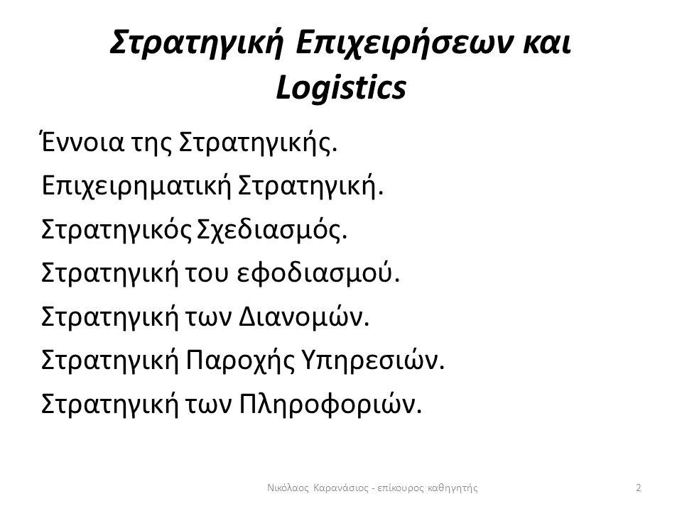 Στρατηγική Επιχειρήσεων και Logistics Έννοια της Στρατηγικής. Επιχειρηματική Στρατηγική. Στρατηγικός Σχεδιασμός. Στρατηγική του εφοδιασμού. Στρατηγική