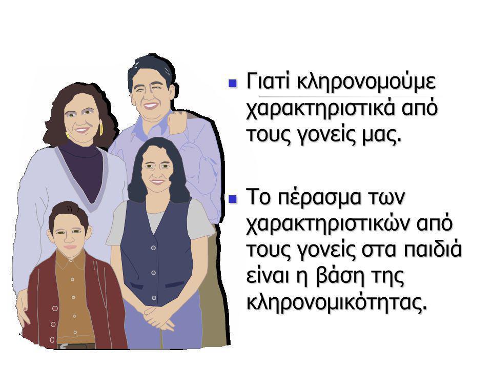 Γιατί κληρονομούμε χαρακτηριστικά από τους γονείς μας. Γιατί κληρονομούμε χαρακτηριστικά από τους γονείς μας. Το πέρασμα των χαρακτηριστικών από τους