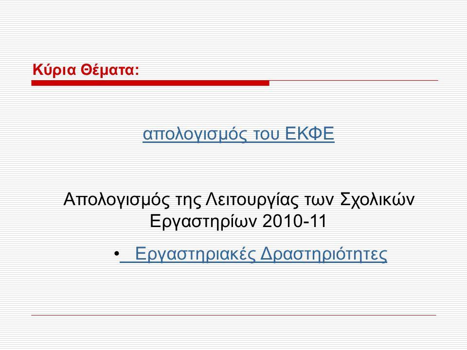 Κύρια Θέματα: απολογισμός του ΕΚΦΕ Απολογισμός της Λειτουργίας των Σχολικών Εργαστηρίων 2010-11 Εργαστηριακές Δραστηριότητες