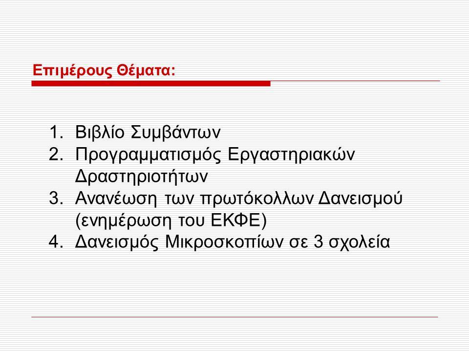 Επιμέρους Θέματα: 1.Βιβλίο Συμβάντων 2.Προγραμματισμός Εργαστηριακών Δραστηριοτήτων 3.Ανανέωση των πρωτόκολλων Δανεισμού (ενημέρωση του ΕΚΦΕ) 4.Δανεισ