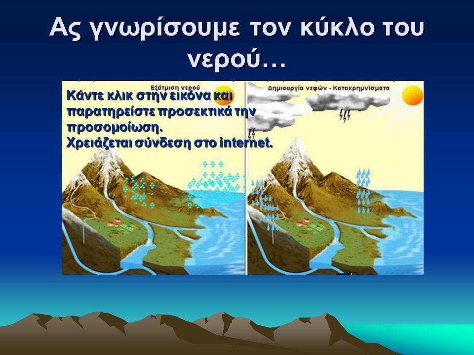 Τι παρατηρούμε; Το νερό σαν ατμός ανέρχεται από την γη στην ατμόσφαιρα.