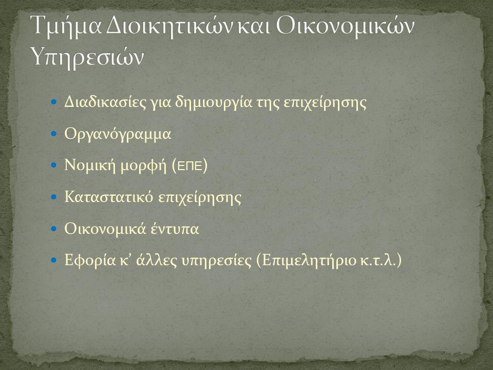 Διαδικασίες για δημιουργία της επιχείρησης Οργανόγραμμα Νομική μορφή ( ΕΠΕ ) Καταστατικό επιχείρησης Οικονομικά έντυπα Εφορία κ' άλλες υπηρεσίες (Επιμελητήριο κ.τ.λ.)