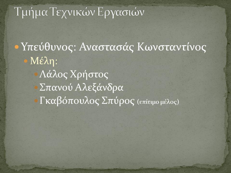 Υπεύθυνος: Αναστασάς Κωνσταντίνος Μέλη: Λάλος Χρήστος Σπανού Αλεξάνδρα Γκαβόπουλος Σπύρος (επίτιμο μέλος)