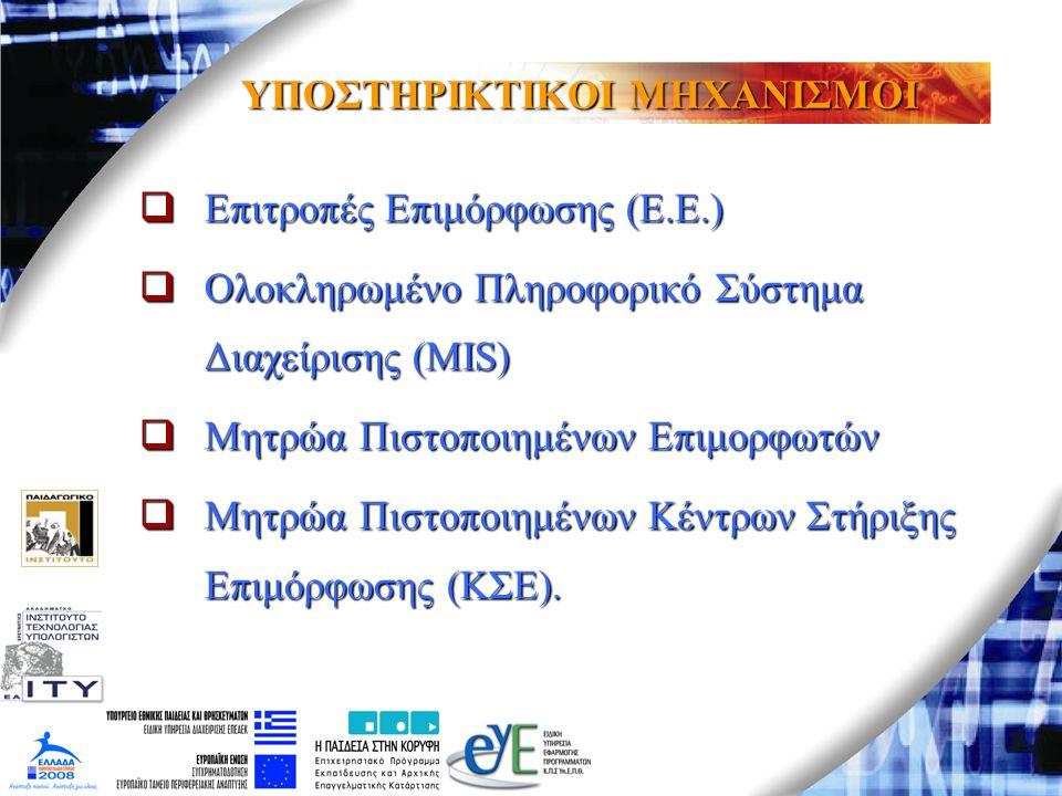 ΥΠΟΣΤΗΡΙΚΤΙΚΟΙ ΜΗΧΑΝΙΣΜΟΙ  Επιτροπές Επιμόρφωσης (Ε.Ε.)  Ολοκληρωμένο Πληροφορικό Σύστημα Διαχείρισης (MIS)  Μητρώα Πιστοποιημένων Επιμορφωτών  Μη