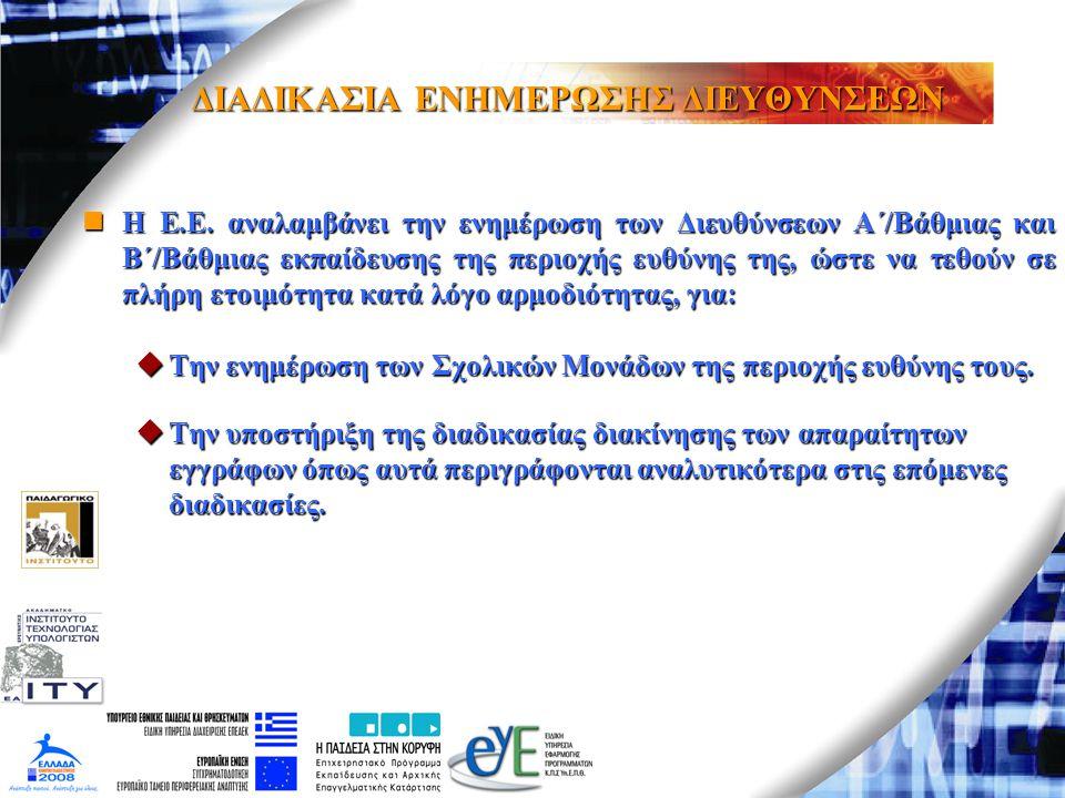 ΔΙΑΔΙΚΑΣΙΑ ΕΝΗΜΕΡΩΣΗΣ ΔΙΕΥΘΥΝΣΕΩΝ Η Ε.Ε. αναλαμβάνει την ενημέρωση των Διευθύνσεων Α΄/Βάθμιας και Β΄/Βάθμιας εκπαίδευσης της περιοχής ευθύνης της, ώστ
