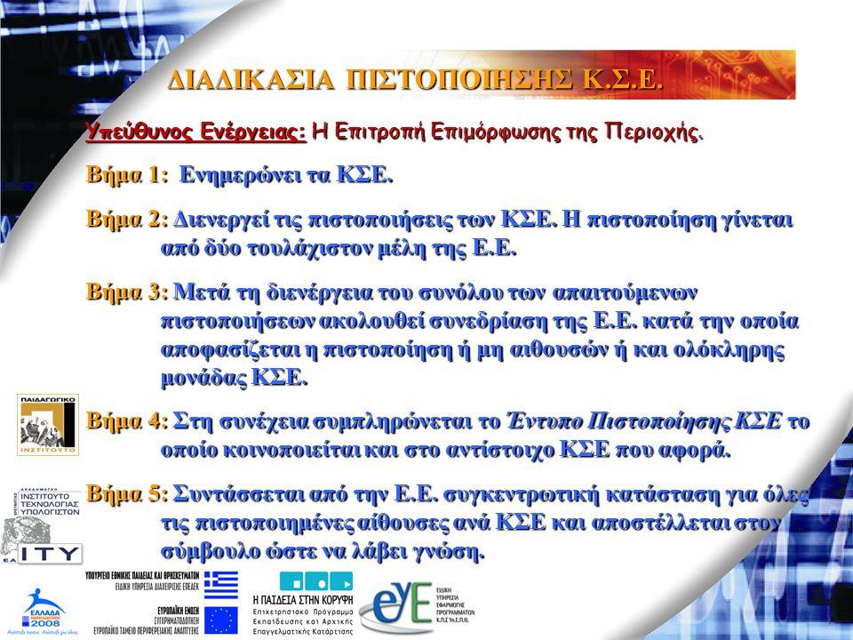 ΔΙΑΔΙΚΑΣΙΑ ΠΙΣΤΟΠΟΙΗΣΗΣ Κ.Σ.Ε. Υπεύθυνος Ενέργειας: Η Επιτροπή Επιμόρφωσης της Περιοχής. Βήμα 1: Ενημερώνει τα ΚΣΕ. Βήμα 2: Διενεργεί τις πιστοποιήσει