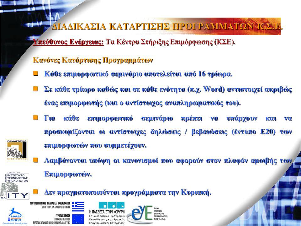 ΔΙΑΔΙΚΑΣΙΑ ΚΑΤΑΡΤΙΣΗΣ ΠΡΟΓΡΑΜΜΑΤΩΝ Κ.Σ.Ε. Υπεύθυνος Ενέργειας: Τα Κέντρα Στήριξης Επιμόρφωσης (ΚΣΕ). Κανόνες Κατάρτισης Προγραμμάτων Κάθε επιμορφωτικό