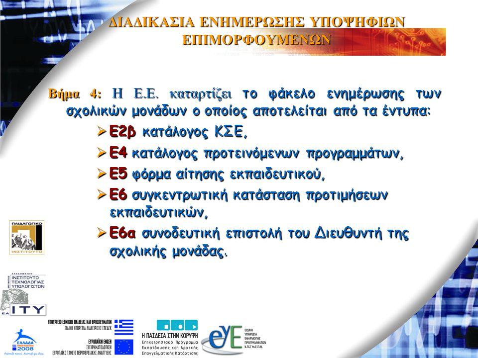 ΔΙΑΔΙΚΑΣΙΑ ΕΝΗΜΕΡΩΣΗΣ ΥΠΟΨΗΦΙΩΝ ΕΠΙΜΟΡΦΟΥΜΕΝΩΝ Βήμα 4: H E.E. καταρτίζει το φάκελο ενημέρωσης των σχολικών μονάδων ο οποίος αποτελείται από τα έντυπα: