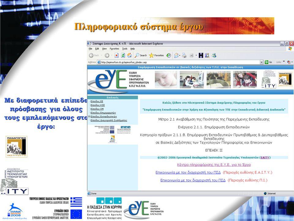 Πληροφοριακό σύστημα έργου Με διαφορετικά επίπεδα πρόσβασης για όλους τους εμπλεκόμενους στο έργο: