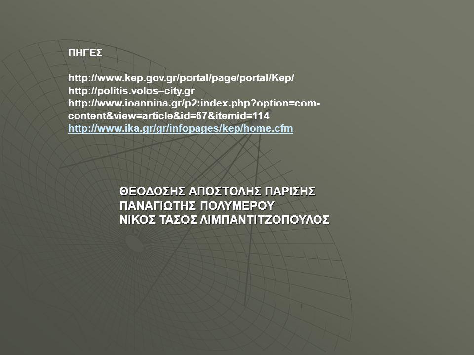 ΠΗΓΕΣ http://www.kep.gov.gr/portal/page/portal/Kep/ http://politis.volos–city.gr http://www.ioannina.gr/p2:index.php?option=com- content&view=article&