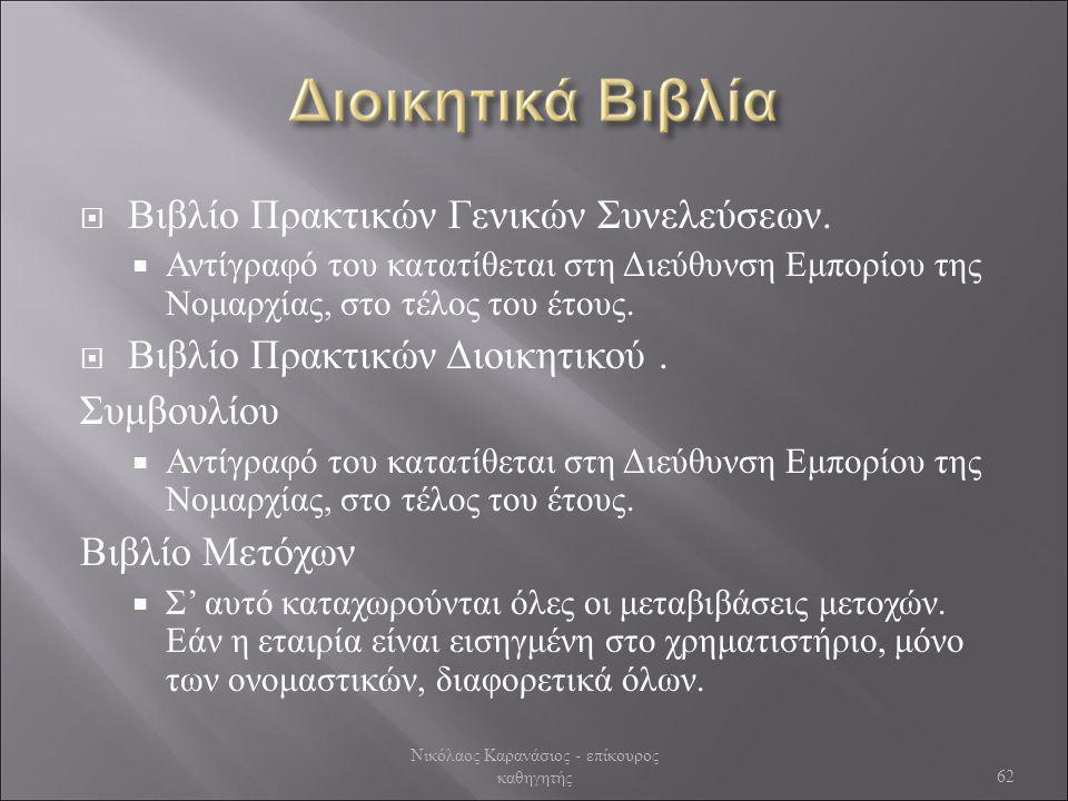  Βιβλίο Πρακτικών Γενικών Συνελεύσεων.  Αντίγραφό του κατατίθεται στη Διεύθυνση Εμπορίου της Νομαρχίας, στο τέλος του έτους.  Βιβλίο Πρακτικών Διοι