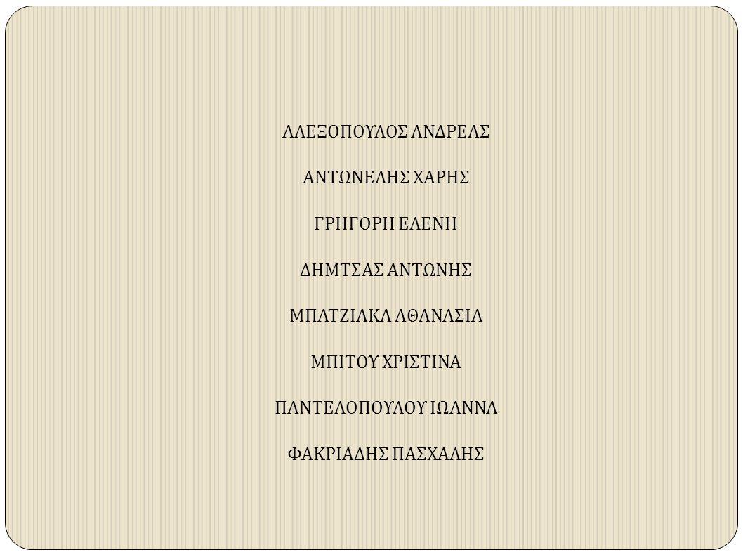 ΑΛΕΞΟΠΟΥΛΟΣ ΑΝΔΡΕΑΣ ΑΝΤΩΝΕΛΗΣ ΧΑΡΗΣ ΓΡΗΓΟΡΗ ΕΛΕΝΗ ΔΗΜΤΣΑΣ ΑΝΤΩΝΗΣ ΜΠΑΤΖΙΑΚΑ ΑΘΑΝΑΣΙΑ ΜΠΙΤΟΥ ΧΡΙΣΤΙΝΑ ΠΑΝΤΕΛΟΠΟΥΛΟΥ ΙΩΑΝΝΑ ΦΑΚΡΙΑΔΗΣ ΠΑΣΧΑΛΗΣ